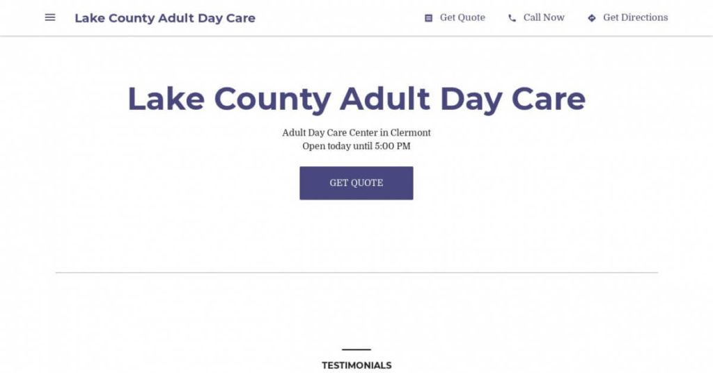 Lake County Adult Day Care Business